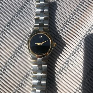 Movado black dial two-tone ladies watch
